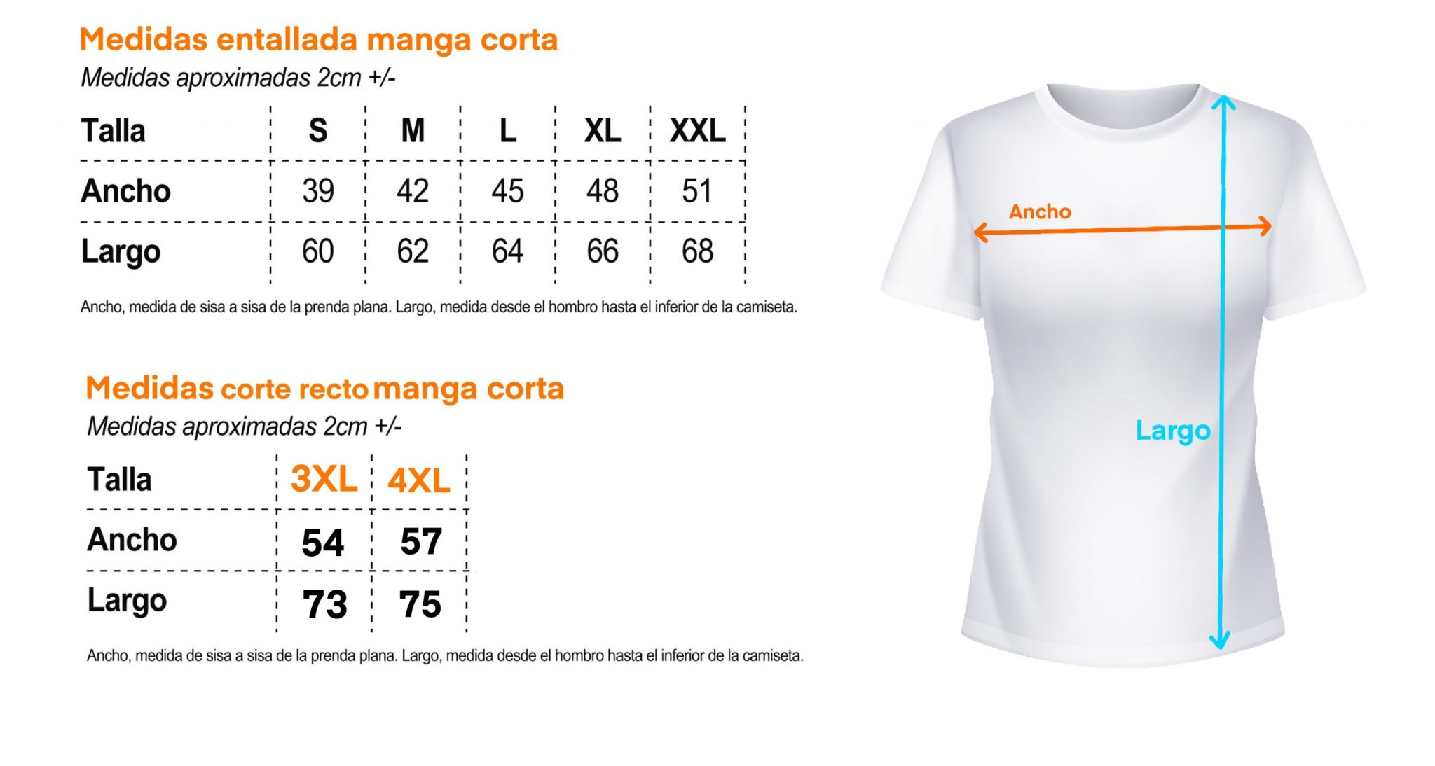 tabla de medidas camiseta chica manga corta entallada